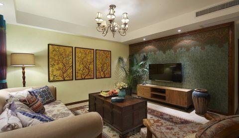 客厅咖啡色电视柜东南亚风格装饰图片