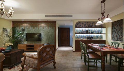 餐厅红色餐桌东南亚风格装潢图片