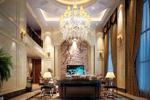 客厅白色灯具欧式风格装修效果图