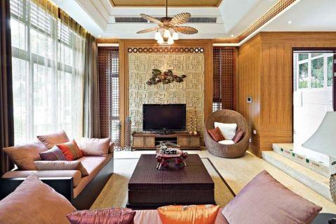 东胜紫御府三居室东南亚风格装修案例图