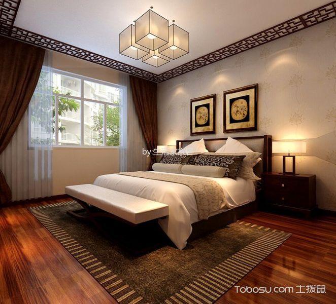 卧室 吊顶_聚宝山庄156平米新中式风格三居室装修效果图