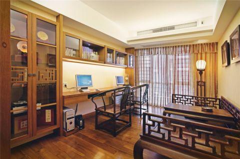 书房黄色窗帘中式风格装潢效果图