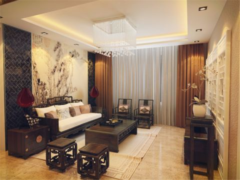 客厅黄色窗帘中式风格装潢图片