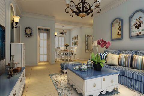 客厅白色背景墙地中海风格装修效果图