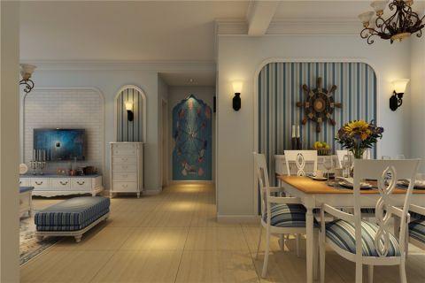 餐厅蓝色背景墙地中海风格装潢效果图