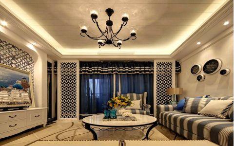 客厅白色茶几地中海风格装潢设计图片