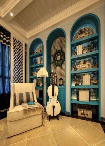 客厅黄色地砖地中海风格效果图