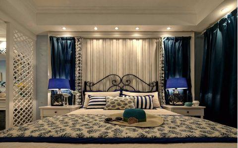 卧室蓝色窗帘地中海风格装修图片