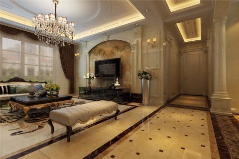 客厅米色走廊简欧风格装潢设计图片
