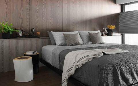 卧室米色背景墙现代风格装饰设计图片