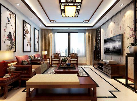 客厅彩色背景墙中式风格装潢图片