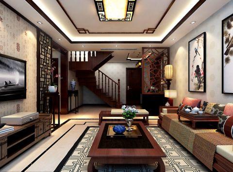 客厅灰色照片墙中式风格装修设计图片