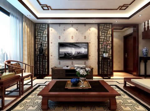 客厅彩色窗帘中式风格装饰设计图片