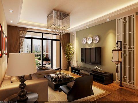 客厅绿色背景墙中式风格装潢效果图