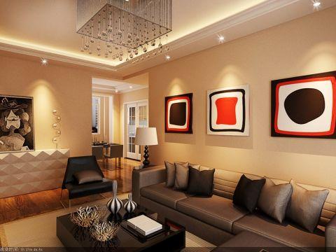客厅米色照片墙中式风格装修图片