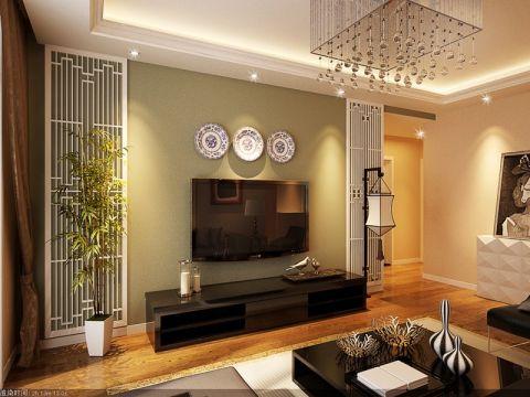 客厅白色吊顶中式风格装饰图片