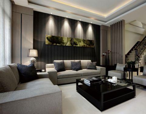 本案采用现代简约装修风格,简洁时尚,丰富了整体空间的层次感。背景墙的吸顶灯正对着装饰画,沙发全部采用布艺,以舒适为主。回字形的天花与茶几相呼应。