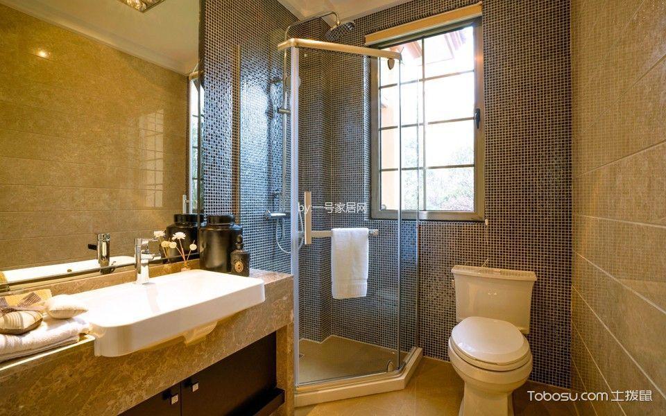 卫生间黄色洗漱台新中式风格装潢设计图片