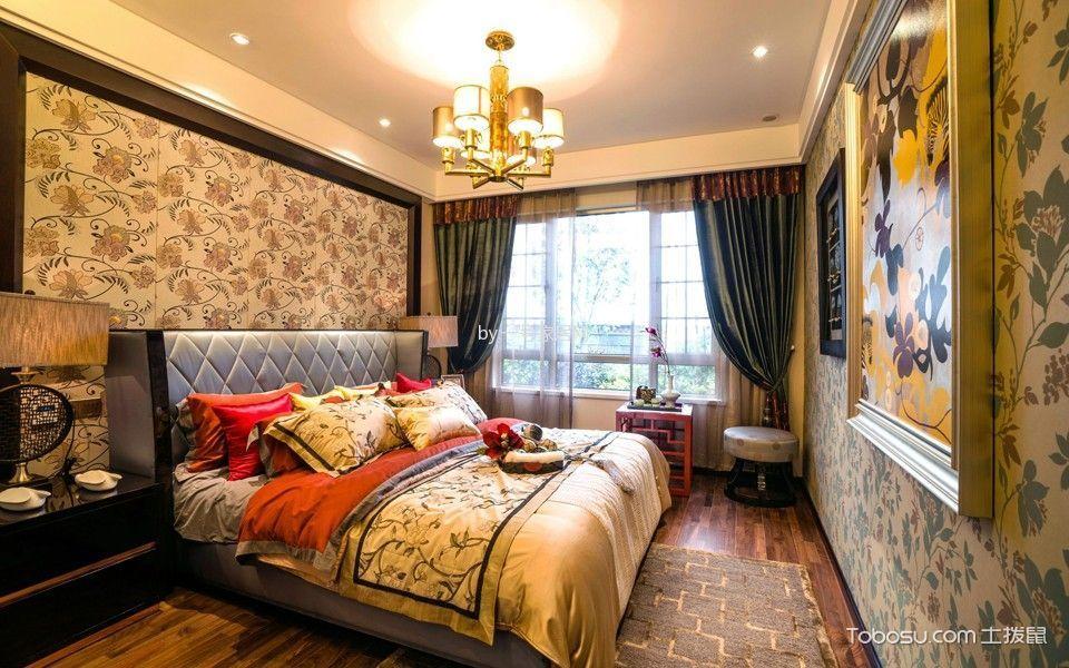 2018新中式卧室装修设计图片 2018新中式窗帘装修效果图片
