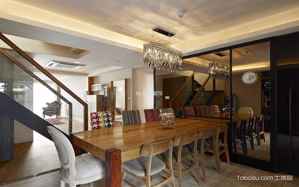 餐厅咖啡色餐桌中式古典风格装饰设计图片