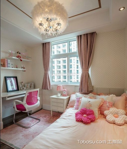 卧室粉色窗帘简欧风格装潢效果图