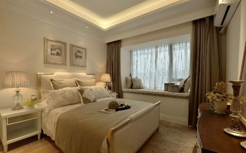 卧室米色飘窗简欧风格装修设计图片