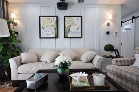 客厅白色背景墙现代风格装潢设计图片