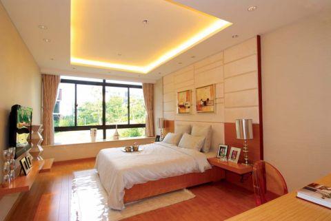 卧室白色背景墙田园风格装修设计图片
