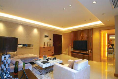 客厅白色背景墙田园风格效果图
