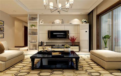 客厅白色背景墙简约风格装潢图片