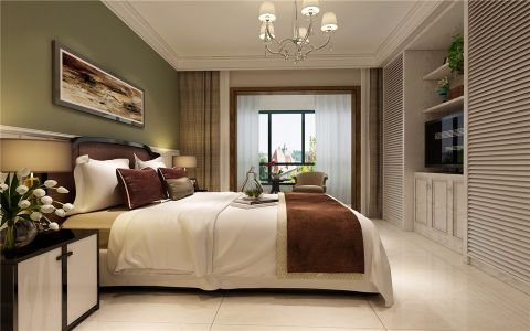 卧室白色背景墙简约风格装修设计图片
