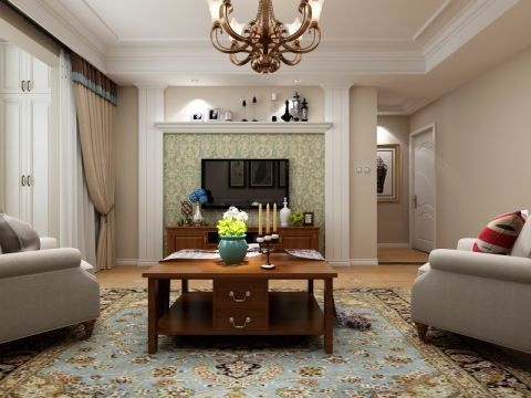 客厅彩色背景墙现代简约风格装修设计图片