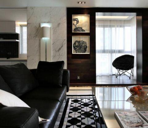 客厅黑色沙发现代简约风格装修设计图片