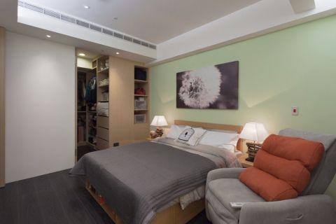 卧室绿色背景墙简约风格装饰设计图片