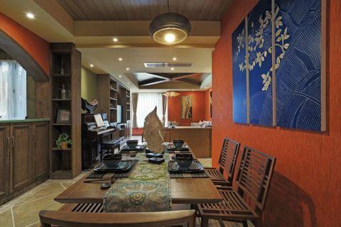 东南亚餐厅背景墙装饰图