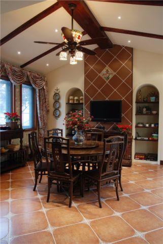 温馨东南亚咖啡色吊顶设计效果图