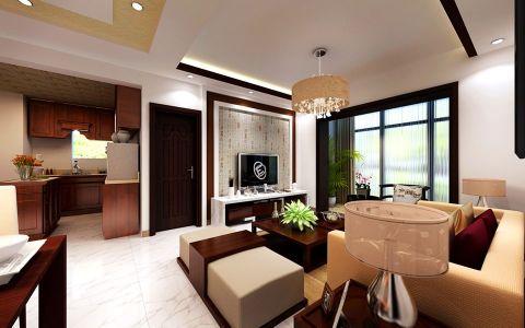 客厅红色茶几混搭风格装潢效果图