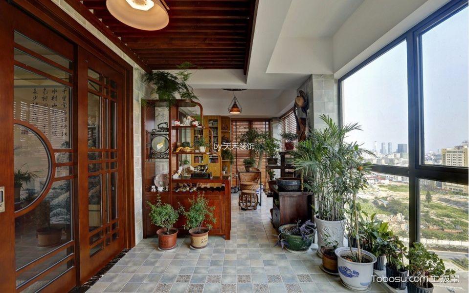 阳台博古架新中式风格装修效果图图片