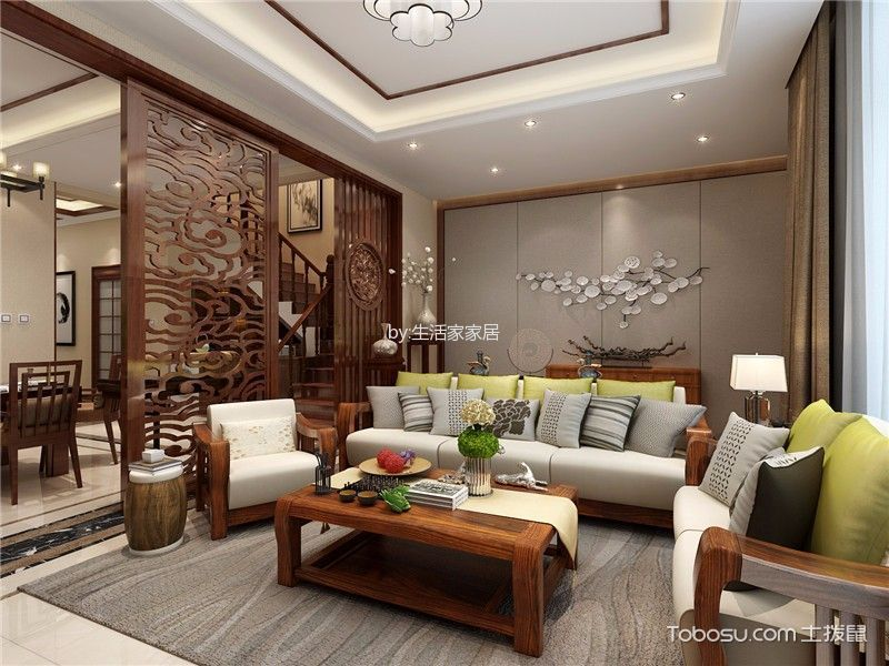 客厅 背景墙_依水和墅中式风格效果图
