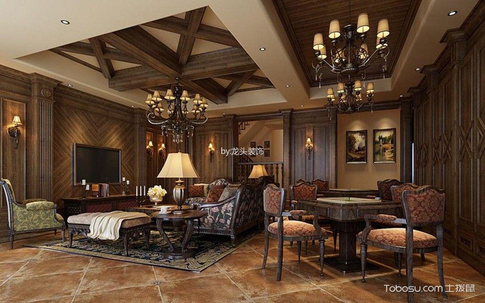 客厅 背景墙_龙溪城美式风格装修案例图图片