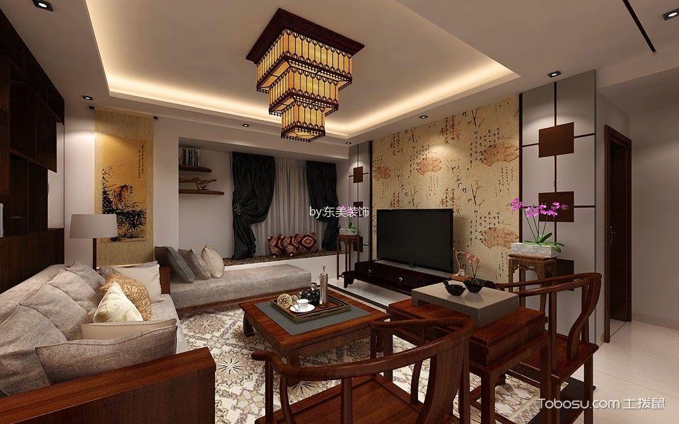 客厅红色沙发中式风格装饰设计图片