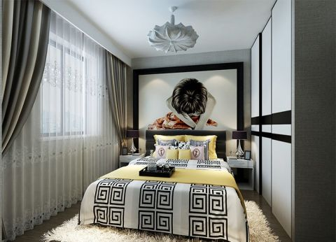 现代简约卧室吊顶装修案例