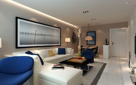 客厅米色背景墙现代风格装潢图片