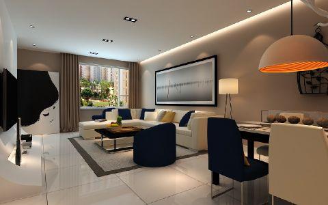 客厅米色窗台现代风格装饰设计图片