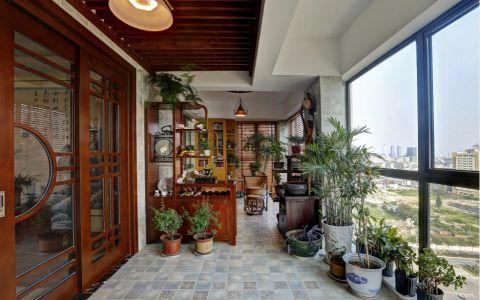 阳台咖啡色博古架案例图