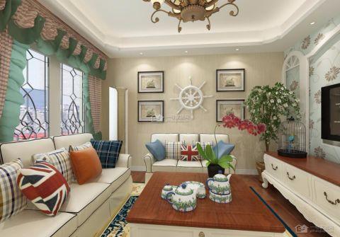 客厅米色背景墙田园风格装潢图片