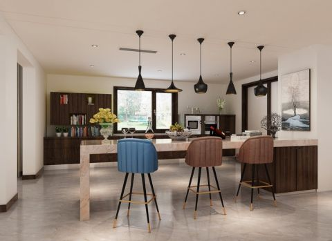 厨房黑色灯具现代简约风格装修图片