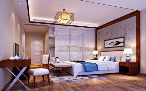 卧室白色背景墙新中式风格装修图片