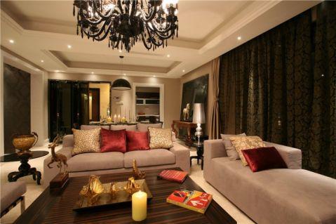 客厅米色吊顶欧式风格装潢效果图