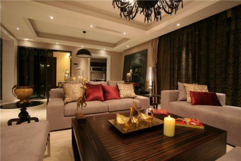 客厅咖啡色窗帘欧式风格装饰图片